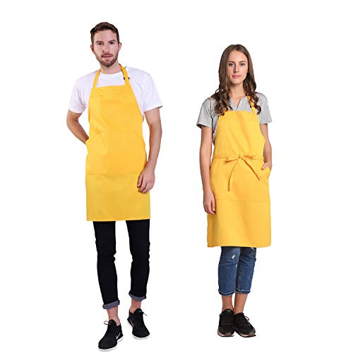 BIGHAS Adjustable Bib Apron with Pocket Extra Long Ties for Women, Men, Chef, Kitchen, Home, Restaurant, Cafe, Cooking, Baking, Gardening etc 13 Colors (Yellow)