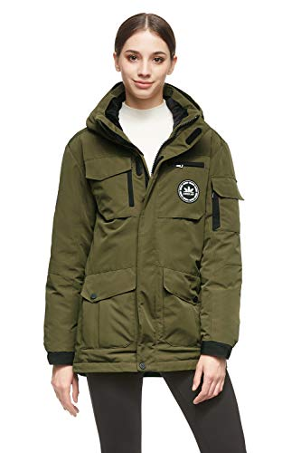 Orolay Women's Multiple Pockets Puffer Jacket with Removable Hood ArmyGreen XL