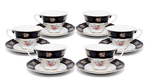 (Royalty Porcelain 12-pc Vintage Flower Patterned Dark Cobalt Blue Tea Cup Set, 6 Cups and Saucers, 24K Gold-Plated Bone China Tableware)