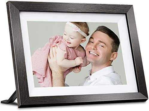 WiFi Digital Picture Frame 10.1 Inch IPS Touch Screen HD Display, Auto-Rotate, Built-in 16GB Storage, Wall-Mountable, Send Photos or Small Videos via iOS and Android App, Email