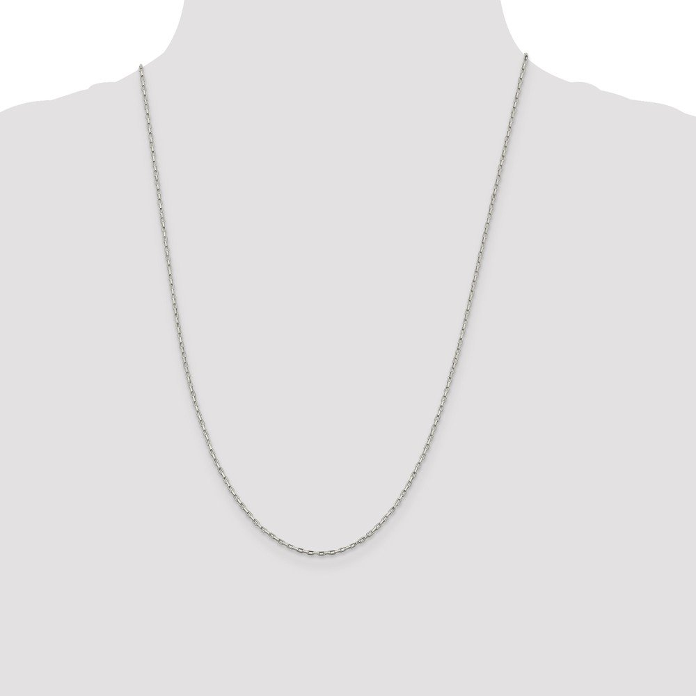 Chains .925 Sterling Silver 1.30MM Elongated Box Link Necklace