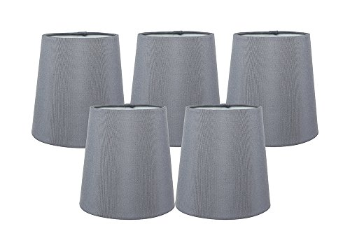 Torpedo Mini Pendant Lamp - Meriville Set of 5 Gray Faux Silk Clip On Chandelier Lamp Shades, 3.5-inch by 4.5-inch by 4.5-inch