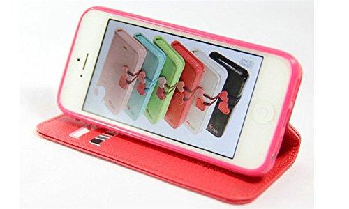 Coque a Rabat pour iPhone 5G/5S, Moonmini PU Cuir Etui Clapet Housse Portefeuille avec Support, Emplacements pour Carte & Fermeture Aimantée - Green Pink Red Heart