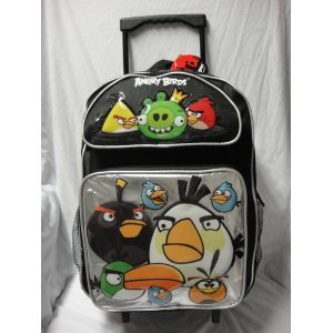 """16"""" Angry Birds 10 Character Black Rolling Backpack-tote-..."""
