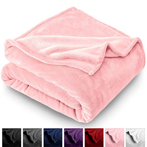 (Bare Home Microplush Velvet Fleece Blanket - Throw/Travel - Ultra-Soft - Luxurious Fuzzy Fleece Fur - Cozy Lightweight - Easy Care - All Season Premium Bed Blanket (Throw/Travel, Light Pink))