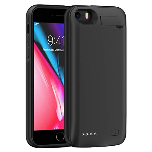 MAXBEAR iPhone 5 5S SE Battery Case, 4500mAh Portable Protective Ultra Slim Charging Case Extended Rechargeable Charger Case for iPhone 5/ 5S/ SE (4.0 inch)-Black [NOT for 5C]