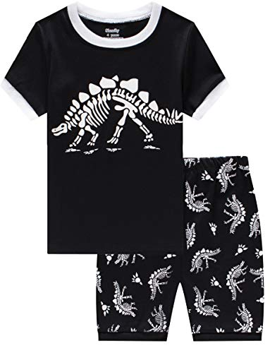 Slenily Glow in The Dark pjs Boys Dinosaur Pajamas Toddler Summer Short Sleepwear Set Size 5T]()