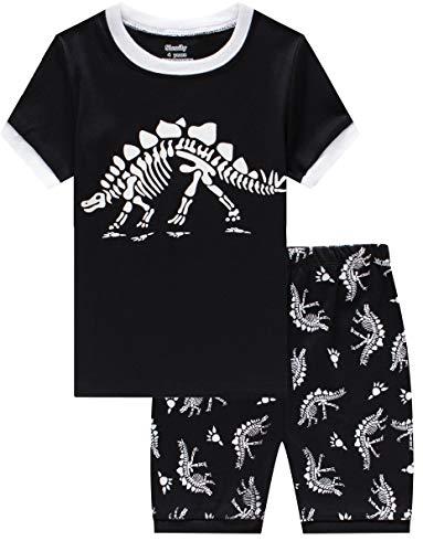 Slenily Glow in The Dark pjs Boys Dinosaur Pajamas Toddler Summer Short Sleepwear Set Size 5T -