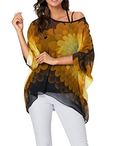 (Nicetage Boho Floral Chiffon Blouse Casual Batwing Blouse Hippie Semi Sheer Loose Tops HS166-4339)