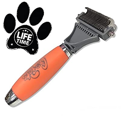Dematting Comb for Cats & Dogs by GoPets [67% OFF MSRP This Week ONLY Memorial Day Sale] | Professional Grooming Tool | Brush is Perfect for Small Medium & Large Breeds with Medium & Long Coats | Detangle All Mats & Tangles with the Best Double Sided Rake