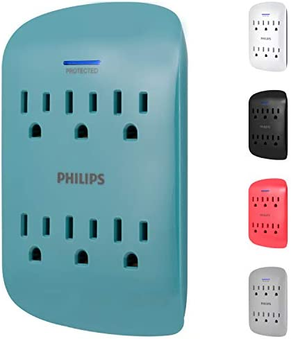 Philips 6-Outlet Extender Surge Protector, 900 Joules, 3-Prong, Space Saving Design, Protection Indicator LED Light, Teal, SPP3461TL/37, 1 Pack