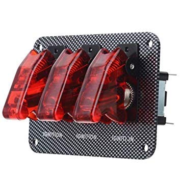 Uniqus Jtron DV 12V Carbon Fiber Surface Panel Car Toggle Switch with Red LED Indicator(Red)