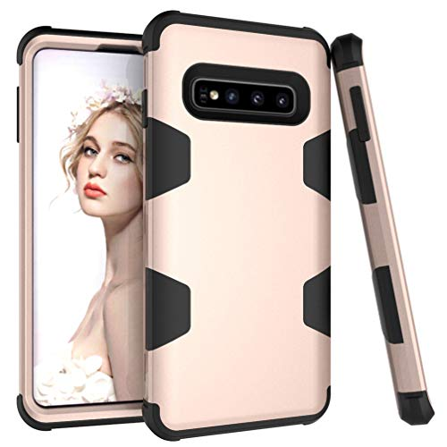 ANERNAI Compatible with Samsung Galaxy S10e Case Heavy Duty 3 in 1 Shockproof Hybrid Military-Grade High Impact Hard PC Soft Silicon Rubber Armor Cover Case (Gold-Black)