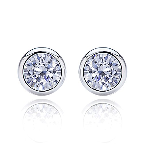 14K White Gold 5mm Round Cubic Zirconia Bezel Screwback Stud Earrings