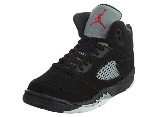 Nike Baby Boys Air Jordan 5 Retro BP OG Metallic Black/Fire Red-Mtllc Silver Suede Size 1Y by Jordan (Image #1)