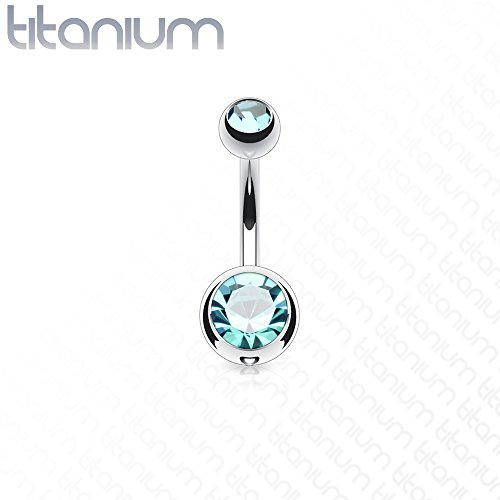 14g Double Gem Ball Belly Button Ring Grade 23 Solid Titanium 3/8