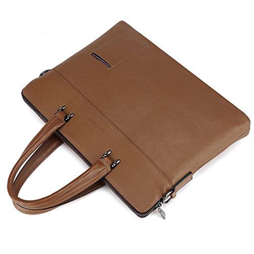 Hombres Maletín Bolso Cruz Sección Moda De Cuero Casual Bolsa De Hombro Messenger Bag Khaki