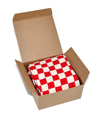 Themed Patterned Mens Novelty Crew Socks 1 Pair in Small Gift Box (Checkered - Red),Checkered - ()