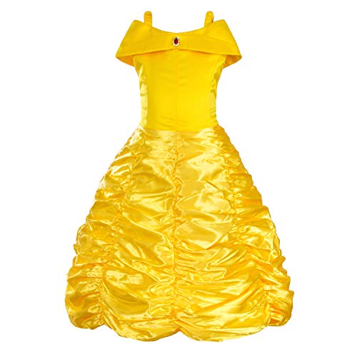 Princess Belle Costume Yellow Off Shoulder Dress for Little Girls 5T 4-5 Years(Layered -
