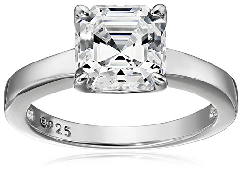 Platinum Plated Sterling Swarovski Asscher Cut Solitaire
