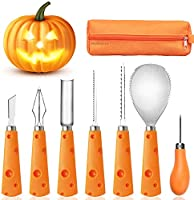FEONRJIEY Halloween Pumpkin Carving Kit with Carrying Bag, Pumpkin Carving Tools, Professional Heavy Duty Stainless Steel...