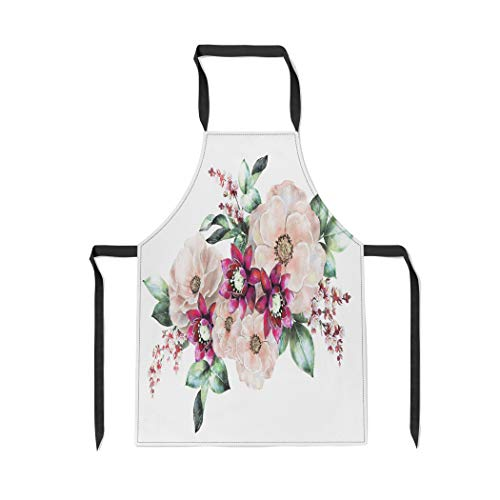 Pinbeam Apron Watercolor Flowers Floral in Pastel Colors Pink Rose with Adjustable Neck for Cooking Baking Garden