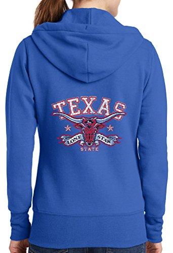 Sale-Womens Texas Lone Star Full Zip Hoodie, Royal, 4X