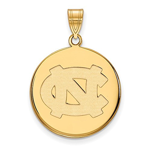 14k Yellow Gold LogoArt Official Licensed Collegiate University of North Carolina (UNC) Large Disc Pendant by Logo Art
