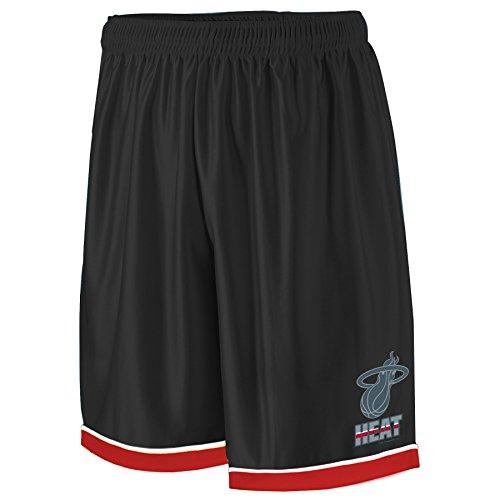 NBA Miami Heat Adult men NBA Poly Shorts 2 Pocket,4X,Black/Card Red