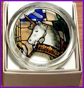 - Decorative Hand Painted Stained Glass Paperweight in an Edinburgh Unicorn Design.