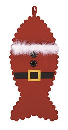 Large Santa Outfit Fish Shaped Felt Christmas Stocking for Your Favorite Cat, 10 Inch X 21 Inch by PHI ()