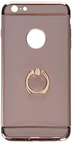 KAMII rrx-700 3-in-1 Ultra Slim Design Hybrid (Metal Textured Grip) Anti Skidding Pc Hard Back Cover with Delicate Ring Kickstand for iPhone 6 Plus, iPhone 6S Plus, Rose Gold