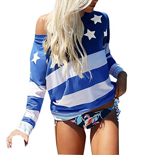 Tantisy ♣↭♣ July 4th T-Shirt, Women's American Flag Off Shoulder Blouse Star Striped Printed Tops Ladies Patriotic Tee Light - Dress Shirt Printed Matte Jersey