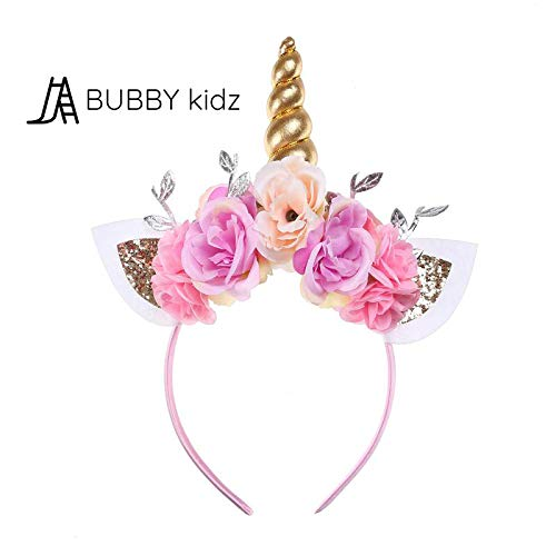 BubbyKidz Unicorn Headband for tots and kids. Glittery floral headband for girls/kids with gold horn ideal Parties and Birthdays. (Gold/Pink) for $<!--$8.99-->