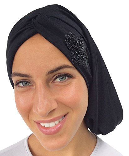 Comfy Turban Snood Headwear (Short, Claire Black Appliqued) (Religious Accessories)