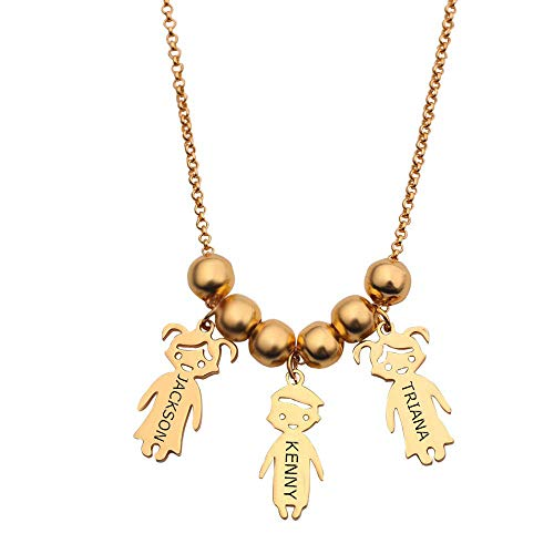 - OBTIAN 925 Sterling Silver Engraved Personalized Children Charms Mothers Necklace Custom Made Any Boys and Girls Name Pendant Necklace Gift as a Present(3 Kid -Gold)