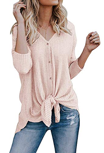 Front Tie Knit Cardigan - Cowear Women's S-3X Tie Front Sweater Cardigan Blouses Casual Waffle Knit Thermal Tops Blush M