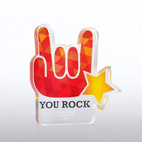rophy - Colored Acrylic - Rock and Roll Hand and Star Shape - Yellow and Red - Personalized Engraving Up to Three Lines and Pre-Written Verse Selection - Comes in Gift Box - Award ()