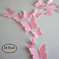Neele 24pcs 3D Butterfly Removable Mural Stickers Wall...