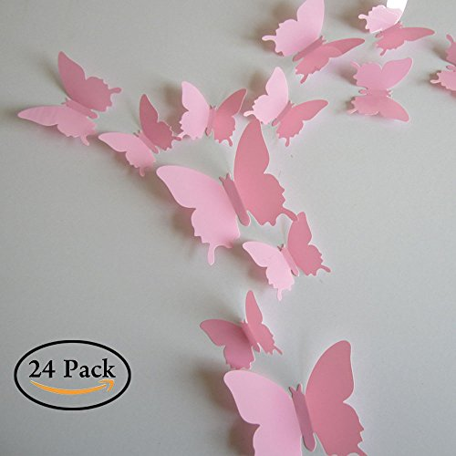 - Neele 24pcs 3D Butterfly Removable Mural Stickers Wall Stickers Decal for Home and Room Decoration(pink)