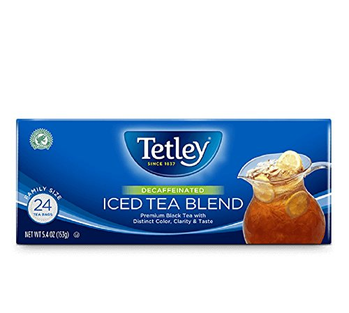 Tea Tetley Decaf (Tetley Black Tea, Decaffeinated Iced Tea Blend, Family Size, 24 Round Tea Bags (Pack of 6))