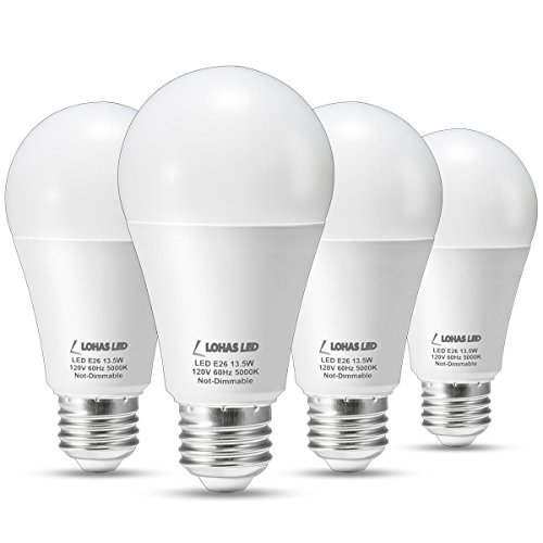LOHAS 100 Watt LED Light Bulb Equivalent, A19 LED Bulb Open (5000K), 13.5W LED Lights, Medium Base E26 Bulb, 240°Beam Angle, LED Bulbs for LED Home Lighting, Not-Dimmable, Pack of 4 Units