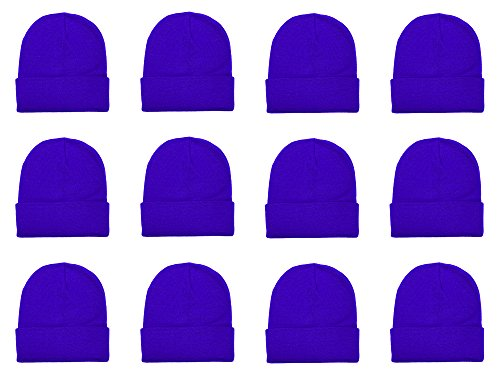 (Gelante Unisex Beanie Cap Knitted Warm Solid Color Multi-Packs (12 Pack: Royal Blue))