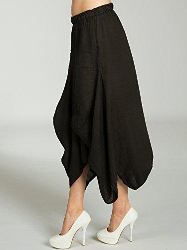 sur jupe devant d't RO018 poches avec CASPAR longue pour lin femme Jupe le Maxi Jupe Noir en lgre PBUnBA6xqw