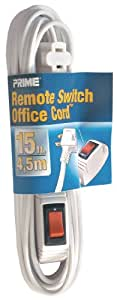 Prime Wire & Cable EC870615 15-Foot 16/2 SPT-2 Remote Switch Cord, White