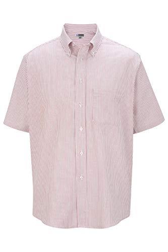 Edwards Men's Short Sleeve Oxford Shirt 4XL Tall Burgundy Stripe