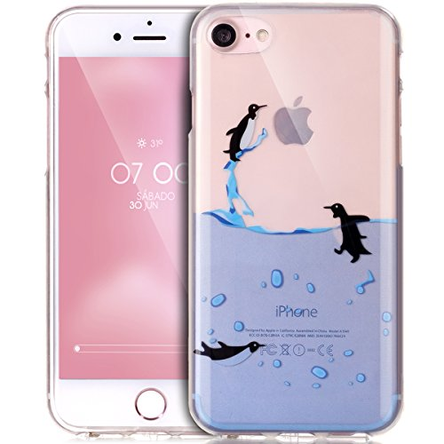 iPhone 8 Case,iPhone 7 Case,ikasus Ultra Thin Soft TPU Case,Ultra Clear Art Panited Series,Soft Silicone Rubber Bumper Case,Crystal Clear Soft Silicone Back Cover for iPhone 8/7,Swimming Penguins