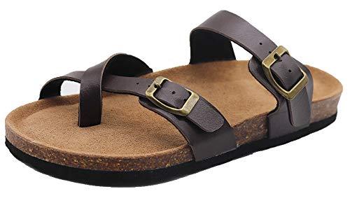 Womens 2-Strap PU Leather Platform Comfortable Sandals Cork Sole Slide On Shoes (9, Brown)