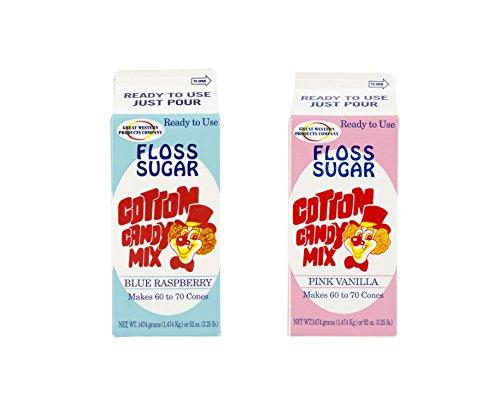 Perfect Stix Floss Sugar Blue Raspberry-Pink Vanilla-2 Cotton Candy Floss Sugar, Blue Raspberry/Pink Vanilla (Pack of 2)
