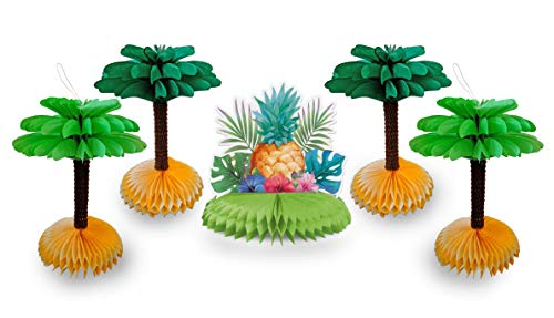 Pineapple Centerpiece and Decorative Palm Tree Tissue Paper Honeycomb Hanging Table Decorations Supplies for Tropical Hawaiian Luau Birthday Party 5-piece pack